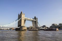 View of Tower Bridge on the River Thames opening for the Lord Nelson tall ship. London, England,. LONDON, UK - SEPTEMBER 1, 2018. View of Tower Bridge on the royalty free stock photo