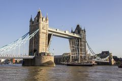 View of Tower Bridge on the River Thames opening for the Lord Nelson tall ship. London, England,. LONDON, UK - SEPTEMBER 1, 2018. View of Tower Bridge on the royalty free stock photography