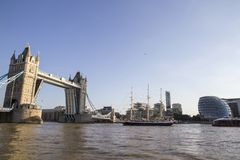 View of Tower Bridge on the River Thames opening for the Lord Nelson tall ship. London, England,. LONDON, UK - SEPTEMBER 1, 2018. View of Tower Bridge on the royalty free stock photos