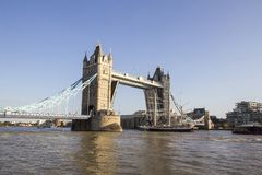 View of Tower Bridge on the River Thames opening for the Lord Nelson tall ship. London, England,. LONDON, UK - SEPTEMBER 1, 2018. View of Tower Bridge on the stock photos