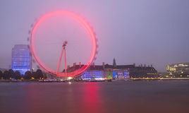 London, the UK skyline in the evening, London Eye Royalty Free Stock Photography