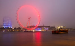 London, the UK skyline in the evening, London Eye Stock Images