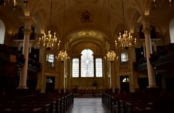 St Martin in the Fields church interior and East Window designed by Shirazeh Houshiary. London, United Kingdom. royalty free stock image