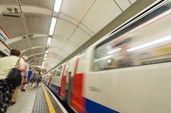 London, UK. Subway train leaving station.  Royalty Free Stock Photos
