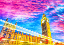 London, UK. Sunset over Westminster Palace Royalty Free Stock Photography