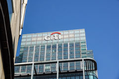 London, Uk - 6th April 2017: Citibank bank HQ in the city of London. The Canary Warf district is full of financial Stock Photos