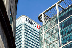 London UK - 6th April 2017: HSBC bankHQ i staden av London HSBC är en av UKs den största detaljhandeln och investeringen Royaltyfri Bild