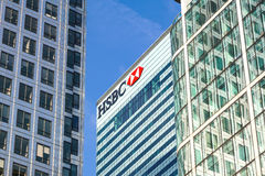 London UK - 6th April 2017: HSBC bankHQ i staden av London HSBC är en av UKs den största detaljhandeln och investeringen Arkivbilder