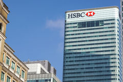 London UK - 6th April 2017: HSBC bankHQ i staden av London HSBC är en av UKs den största detaljhandeln och investeringen Royaltyfri Fotografi
