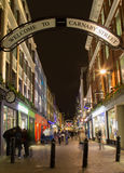 LONDON, UK - 24TH FEB 2014: Carnaby Street at night with the blu Royalty Free Stock Images