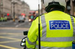 Metropolitan Police motorcycle riders escort a protest demonstration in central London, England. London, UK. 12th January 2019. Metropolitan Police motorcycle royalty free stock photography