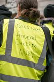 Yellow vest protester at the Britain Is Broken / General Election Now demonstration in London. royalty free stock image