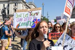Anti-Donald Trump Protest in Central London. London,UK: 13th July 2018:Thousands of anti-Donald Trump protesters descended on central London in the summer heat royalty free stock photos