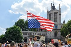 Anti-Donald Trump Protest in Central London. London,UK: 13th July 2018:Thousands of anti-Donald Trump protesters descended on central London in the summer heat royalty free stock images