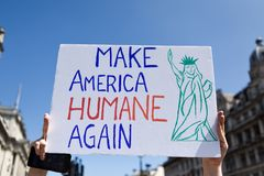 Anti-Donald Trump Protest in Central London. London,UK: 13th July 2018:Thousands of anti-Donald Trump protesters descended on central London in the summer heat royalty free stock photography