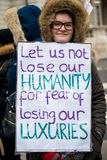 March Against Racism National Demonstration - London - United Kingdom. London, UK. 17th March 2018. EDITORIAL - One of the many homemade posters seen at the royalty free stock image