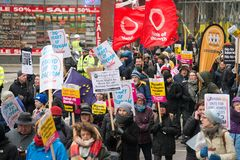 March Against Racism National Demonstration - London - United Kingdom. London, UK. 17th March 2018. EDITORIAL - Thousands gathered at Portland Place, London royalty free stock photography