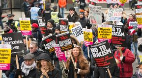 March Against Racism National Demonstration - London - United Kingdom. London, UK. 17th March 2018. EDITORIAL - Thousands gathered at Portland Place, London royalty free stock images
