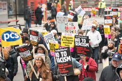 March Against Racism National Demonstration - London - United Kingdom. London, UK. 17th March 2018. EDITORIAL - Thousands gathered at Portland Place, London royalty free stock photo