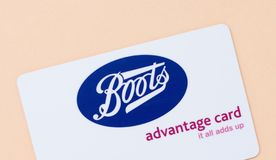 London, UK - 14th May 2019 - Boots advantage card. Boots is a health and beauty retailer and pharmacy chain in the UK stock photos