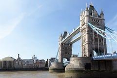 London, UK, Tower Bridge side view, River Thames, copyspace Stock Photos
