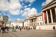 LONDON, UK - Urban landscape and people, view from Trafalgar square Stock Photography