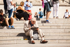 LONDON, UK - Urban landscape and people, view from Trafalgar square Royalty Free Stock Image