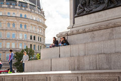 LONDON, UK - Urban landscape and people, view from Trafalgar square Stock Photos