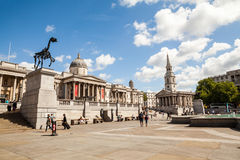 LONDON, UK - Urban landscape and people, view from Trafalgar square Royalty Free Stock Photography