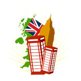 London uk vector symbols. Landmarks and stereotypes of united kingdom and london in this vectorial illustration with phone cab and big ben Stock Photography