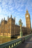 LONDON, UK: View of Big Ben and the Houses of Parliament from Westminster Bridge Royalty Free Stock Images