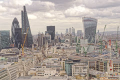 London, uk. A view of  modern london and the city from the Saint Paul´s Cathedral in London, uk Royalty Free Stock Images