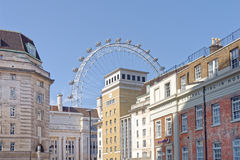 London, uk. A view of  london´s southbank with the london eye in the background, London, uk Royalty Free Stock Images