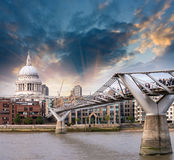 London, UK. Wonderful side view of Millennium Bridge at sunset, Royalty Free Stock Image