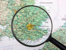 London under magnifier. Destination London under magnifying glass Stock Photography