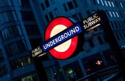 London Undergorund Tube Sign. London Undergroudn Metro Tube Sign, public subway by night Royalty Free Stock Image