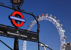 London Undergound sign and London Eye Royalty Free Stock Photos