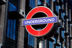 London Underground. Sign on architectural background Stock Photo