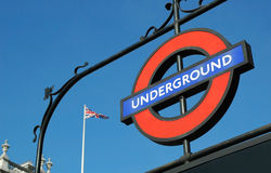 London Underground. London, UK, - January 2011: Iconic station sign on the British underground rail subway Stock Images