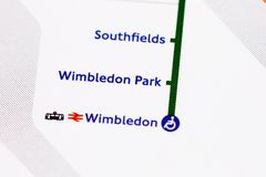 London underground. Map of london's underground - Wimbledon Stock Photography