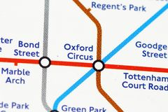 London underground. Map of london's underground - Oxford Circus Stock Image