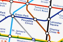 London underground. Map of london's underground - Piccadilly Circus Royalty Free Stock Images