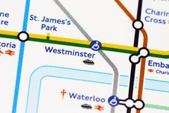 London underground. Map of london's underground - Westminster Stock Image
