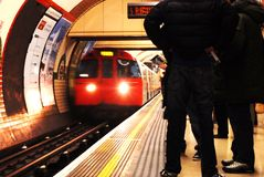 London Underground. Platform, train arriving in motion blur, long exposure Stock Photography