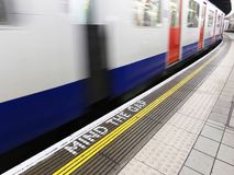 London underground. Mind the gap, warning in the London underground Royalty Free Stock Photography
