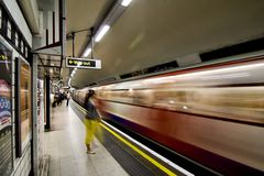 London Underground. Inside view of London Underground, oldest underground railway in the world, covering 402 km of tracks, on May 24, 2012 in London, UK Stock Photography