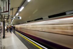 London Underground. Inside view of London Underground, oldest underground railway in the world, covering 402 km of tracks, on May 24, 2012 in London, UK Royalty Free Stock Photos