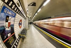 London Underground. Inside view of London Underground, oldest underground railway in the world, covering 402 km of tracks, on May 24, 2012 in London, UK Stock Photos