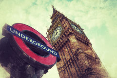 London underground and Big Ben Stock Photography