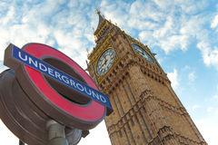 London underground and Big Ben Royalty Free Stock Photos